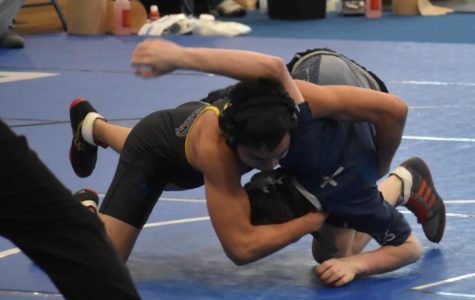 Senior Chris Catunao rolls his opponent en route to the regional wrestling title at 113 pounds.